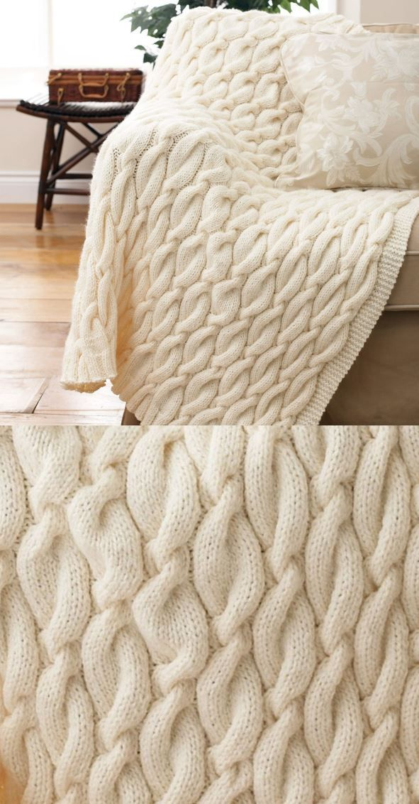 10 + Free Chunky Cable Knit Blanket Pattern #knitting