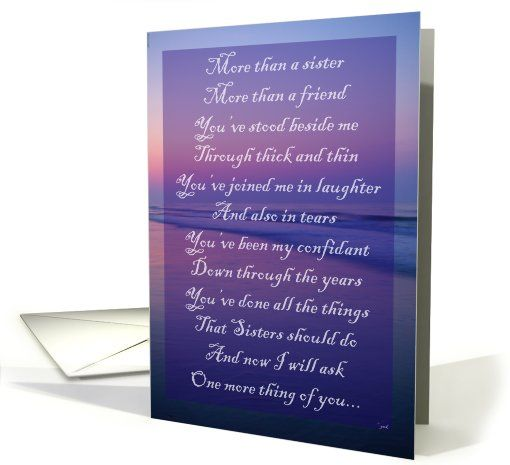Be My Matron Of Honor Sister: Ocean Scene Greeting Card