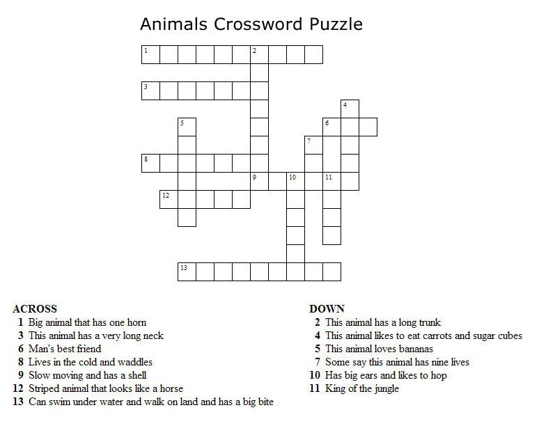 Crossword Puzzle About Animals