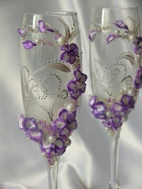 Personalization champagne flutesPurple and Silver от DiAmoreDS