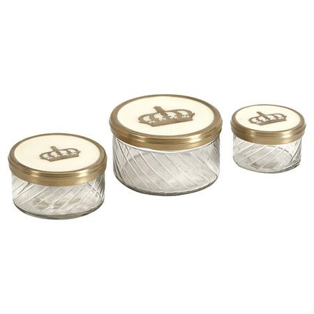 Fleurdelis 3 Piece Kitchen Canister Set Jar, Glass