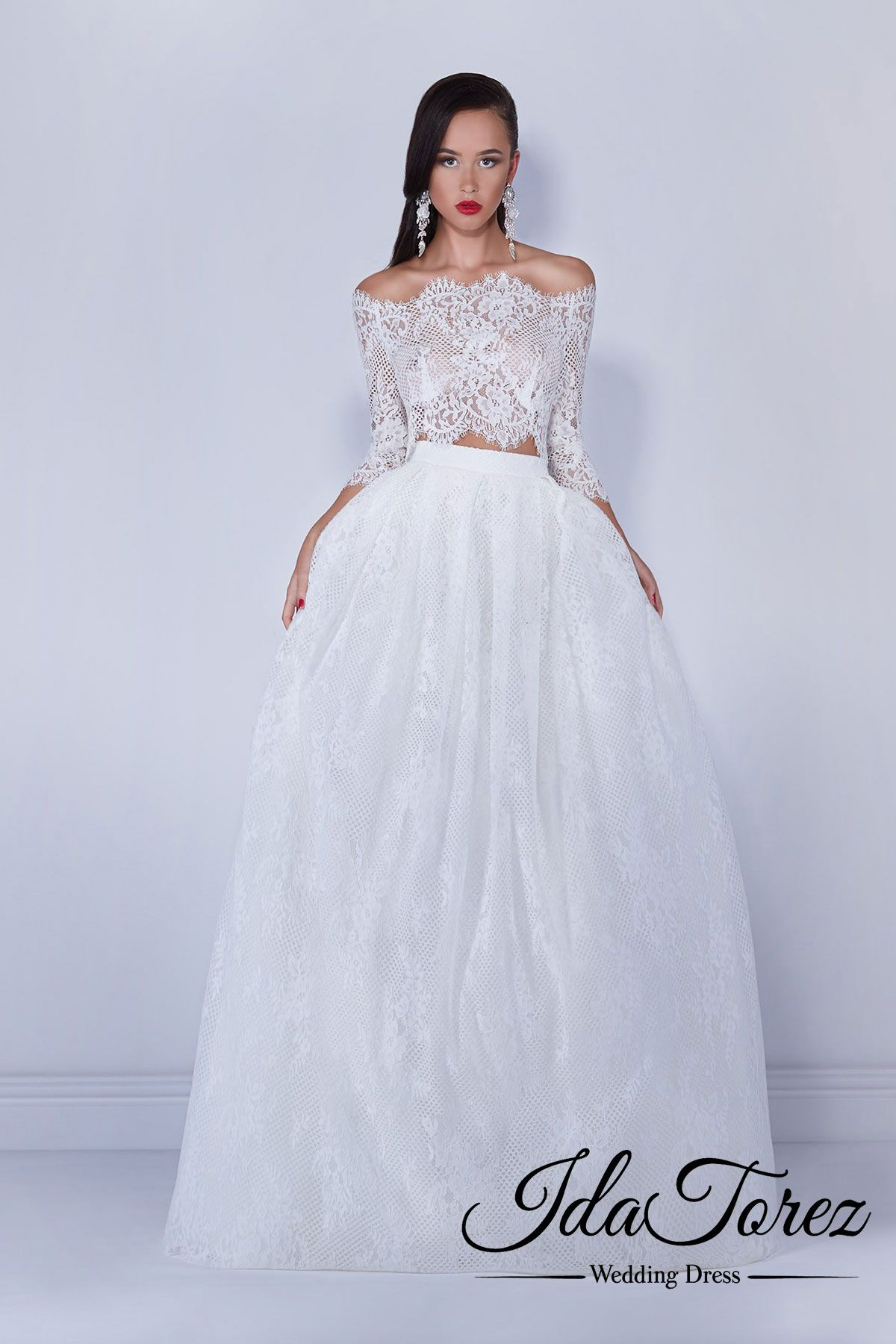 3/4 length lace wedding dress  EyeCatching Crop top Off The Shoulder Natural SweepBrush Train