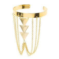 Gold Triangles and Chains Arm Cuff