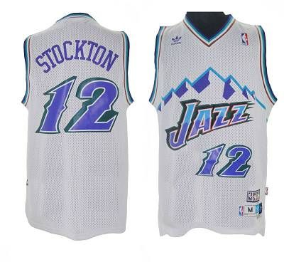 d59048d9e Jazz  12 John Stockton White Throwback Stitched NBA Jersey