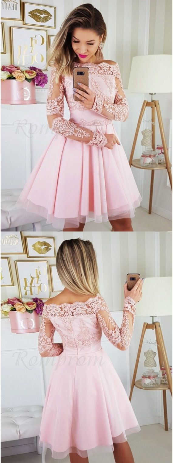 Aline offtheshoulder long sleeves aboveknee pink homecoming