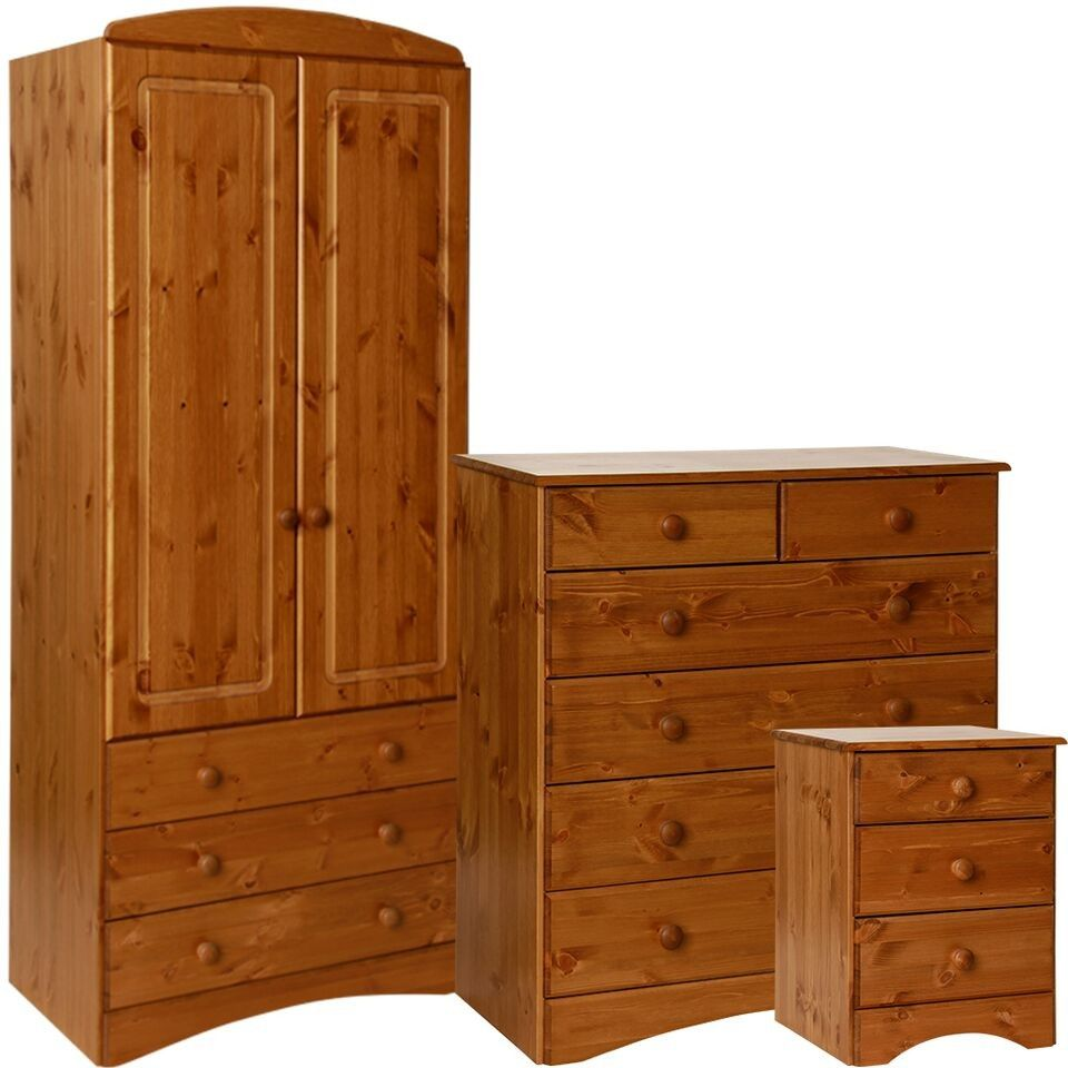 Scandi / Aviemore Pine Bedroom Set 4+2 6 Drawer Chest, Bedside Table 2