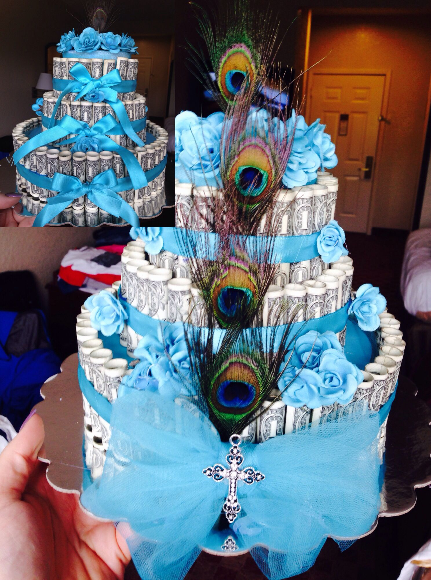 Back and front photo of blue peacock themed money cake ...