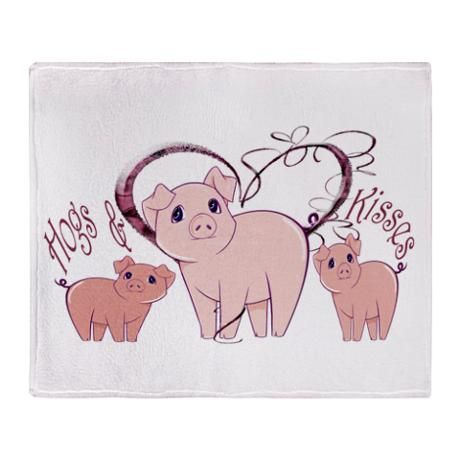 Hogs and Kisses, cute piggies art stadium blanket