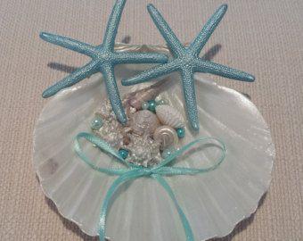 Seashell ring holder Wedding Ring Holder Sea shell Ring Bearer