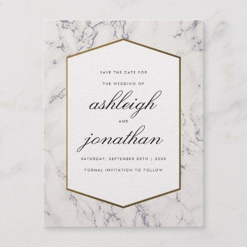 When Do I Send Out Wedding Invitations: Blue Marble & Gold Border