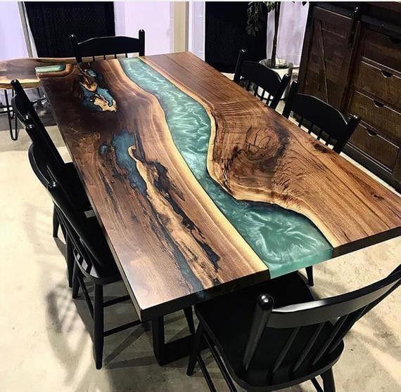 Epoxy table, epoxy resin table, epoxy dinner table | Wood