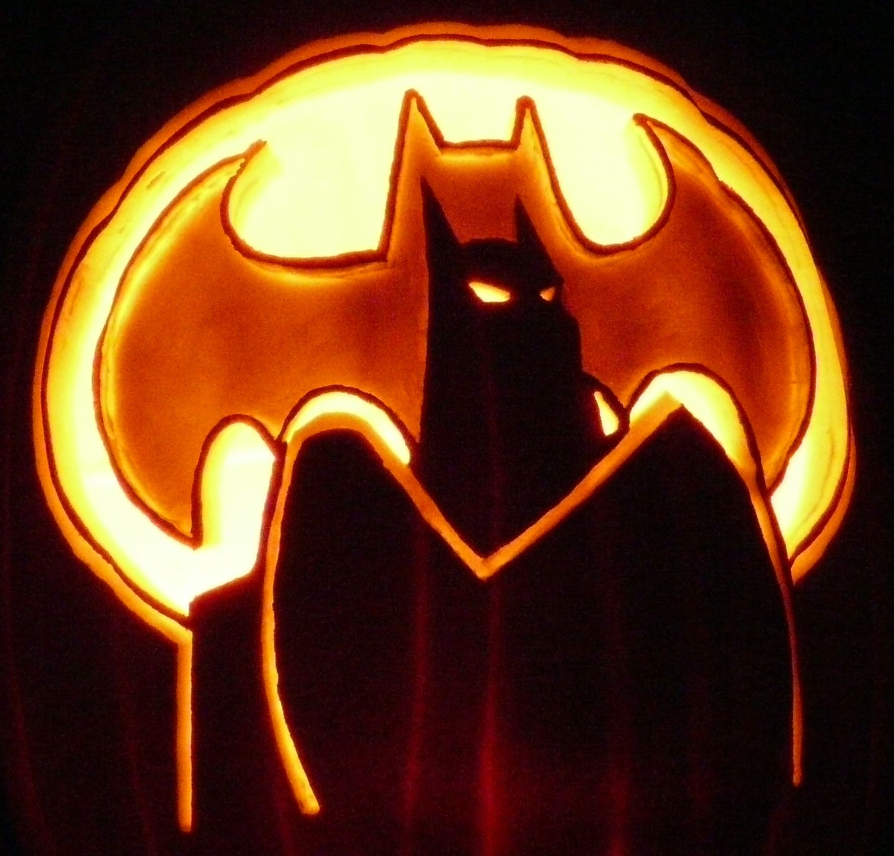 Here's a Batman pumpkin carving from a pattern by stoneykins.com ...