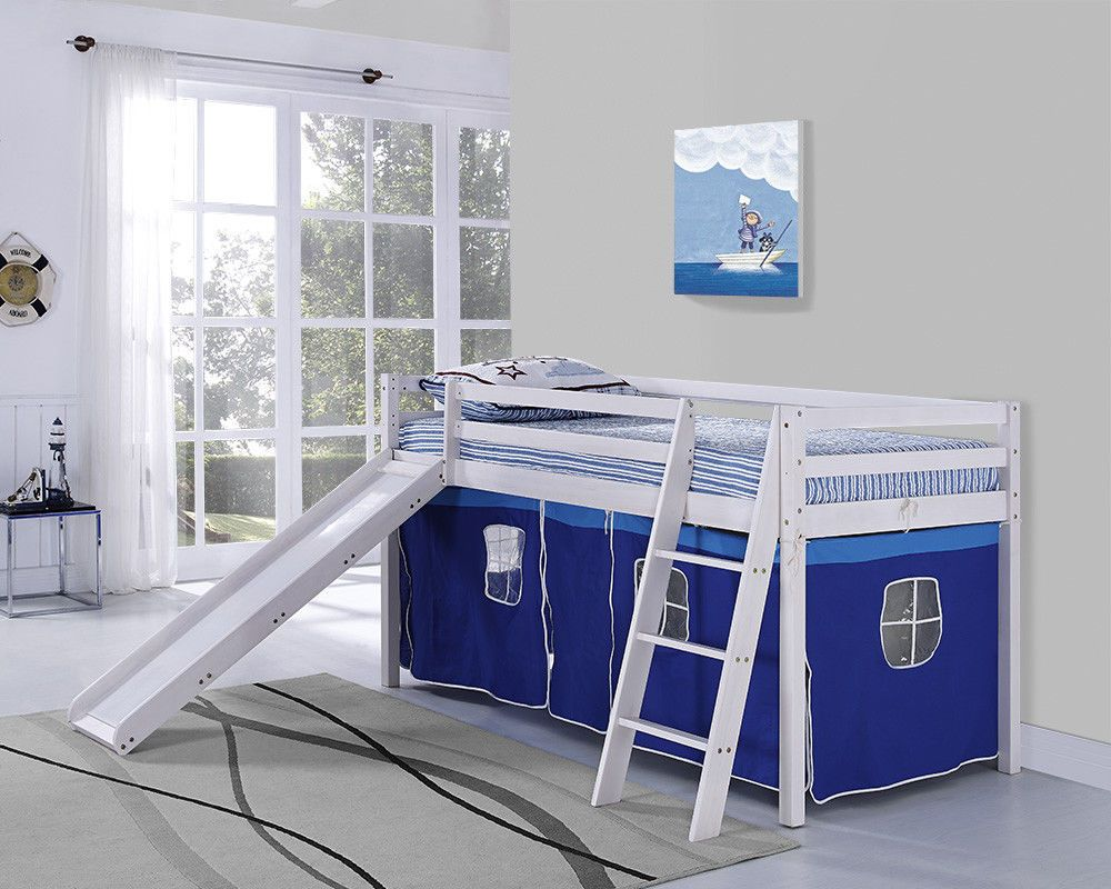 Details About Kids Bunk Bed Mid Sleeper With Slide And Ladder Wooden