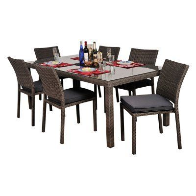 Outdoor Atlantic Liberty All-Weather Wicker Patio Dining Set - Seats 6 Grey - PLI LIBER RECT7 SIDE GR_GR