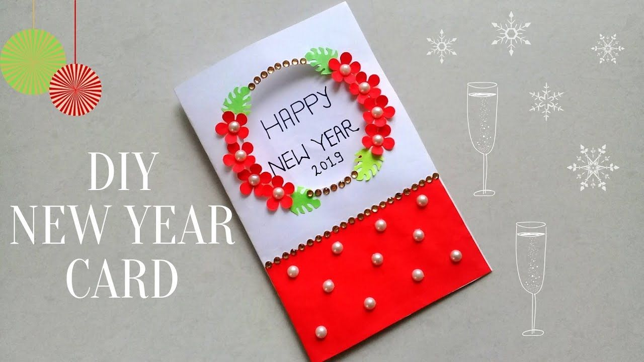 DIY New Year Greeting Card/How to make New Year Card ...