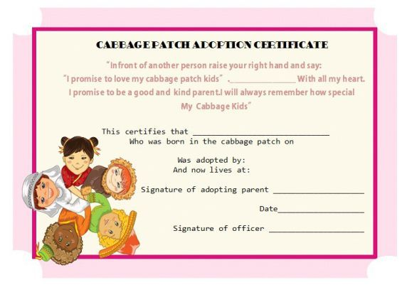 Cabbage Path Adoption Certificate  Adoption Certificate Template
