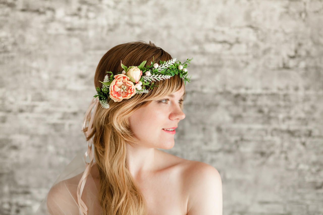 Green orange flower headpiece flower crown wedding orange hawaiian the orange headpiece is handmade with green and orange flower the flower crown for hair is made on a metal base which is conveniently inserted neatly into izmirmasajfo