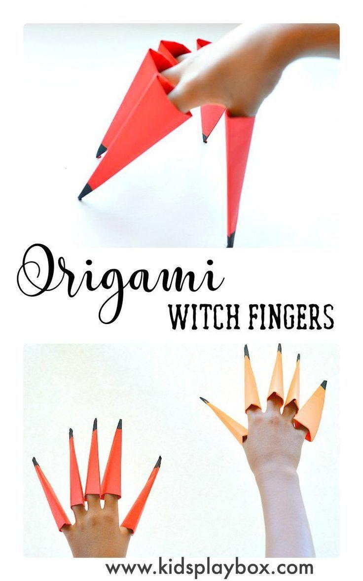 Easy origami for kids fun halloween craft activity for kids easy origami for kids fun halloween craft activity for kids make witch fingers with jeuxipadfo Gallery