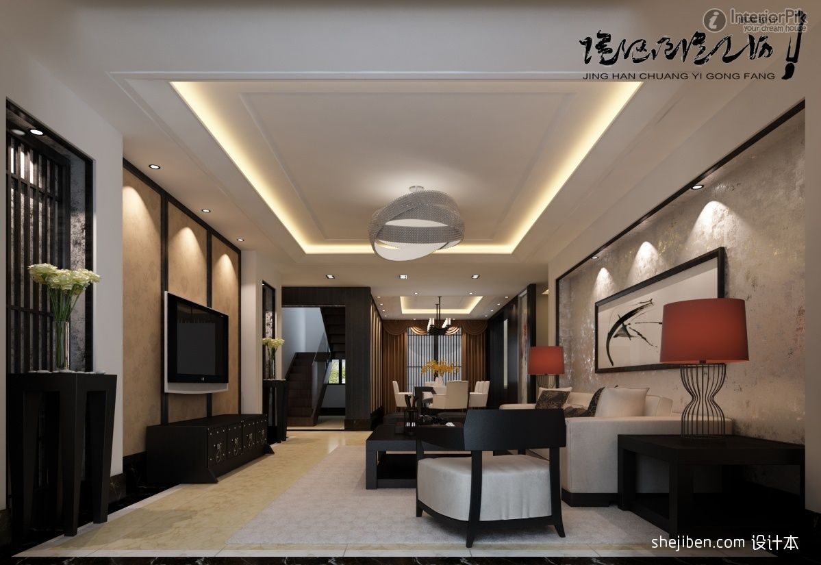 Designchinesestyledoublehighceilinglivingroomtvbackground Enchanting High Ceiling Living Room Designs Inspiration Design