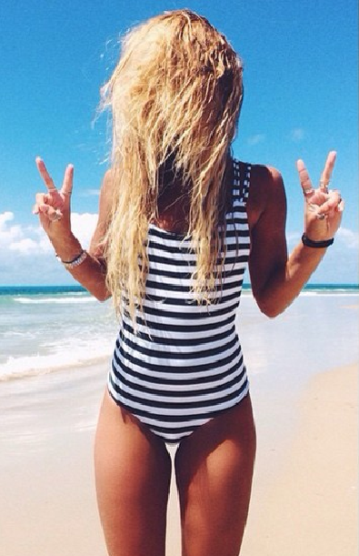 Striped Strappy Back One Piece Swimsuits                                                                                                                                                     More