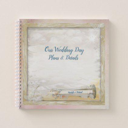 Beach Bottle Wedding Plans Spiral Notebook