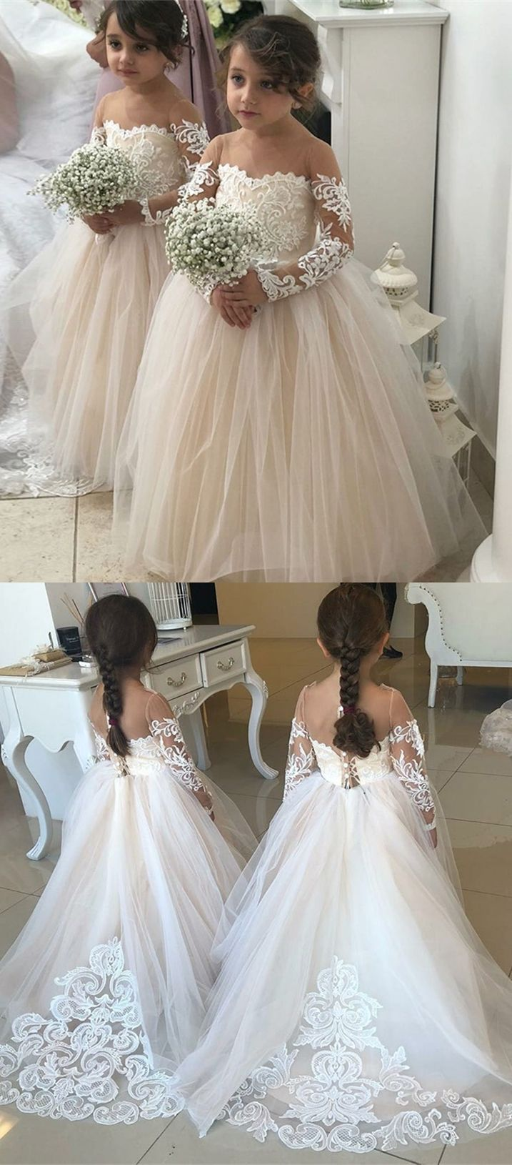 Aline round neck light champagne flower girl dress with appliques