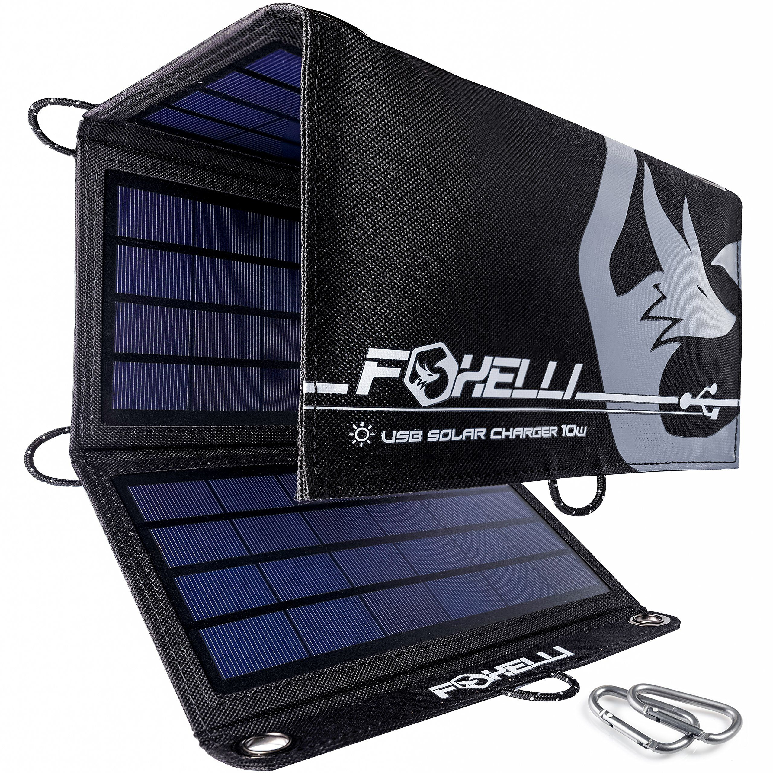 Foxelli Dual Usb Solar Charger 10w Foldable Solar Panel Phone Charger For Iphone X 8 7 6s Solar Gadgets Products Portable Solar Power Solar Power Charger