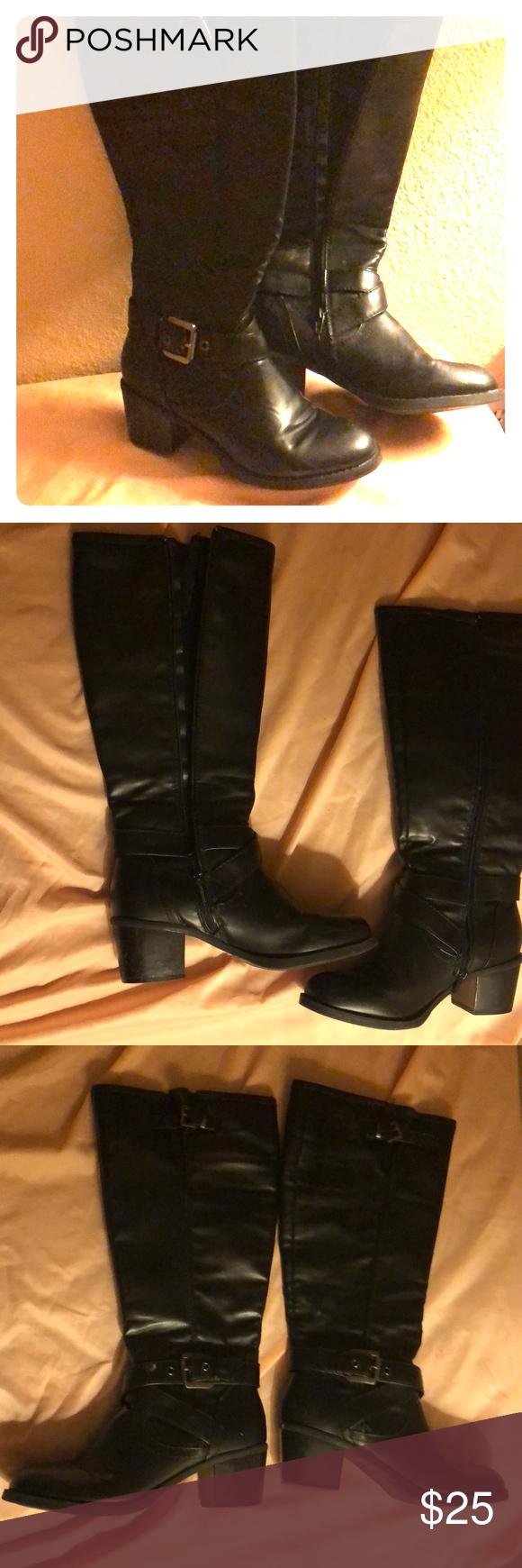 Boots, Black mid calf boots, Black boots