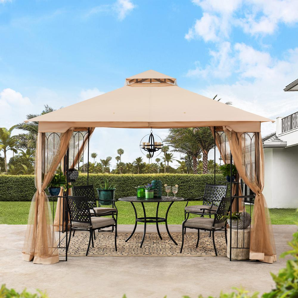 Sunjoy Nikkie 10 Ft X 10 Ft Steel Gazebo With 2 Tier Khaki Canopy A101011000 The Home Depot In 2020 Steel Gazebo Gazebo Outdoor Settings
