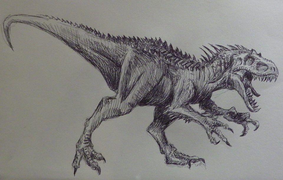 Indominus Rex Pen Drawing Dessin Dinosaure Croquis