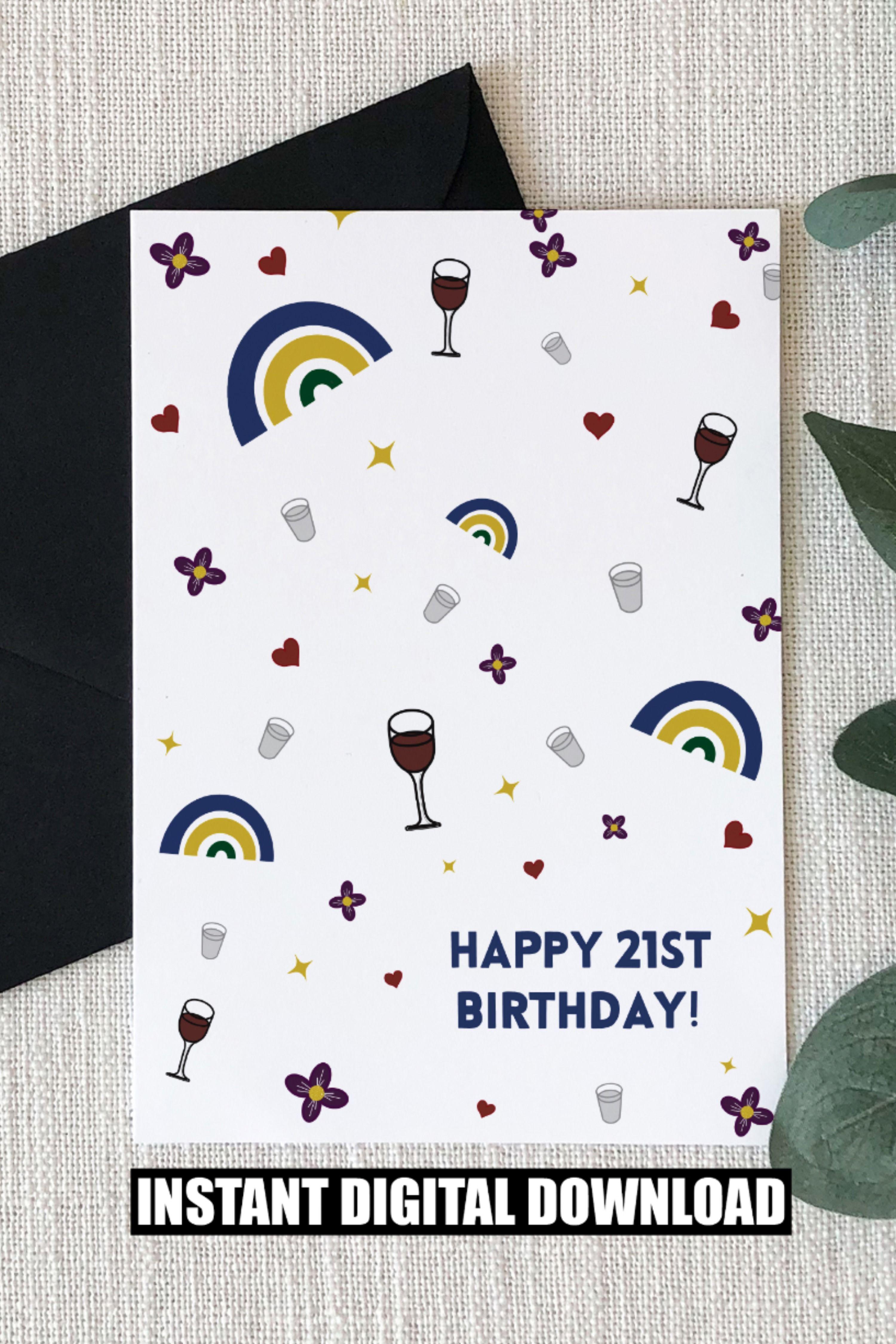 Happy 21st Birthday Shot Glass Wine Glass Printable Etsy Happy 21st Birthday Cards 21st Birthday Cards Birthday Cards