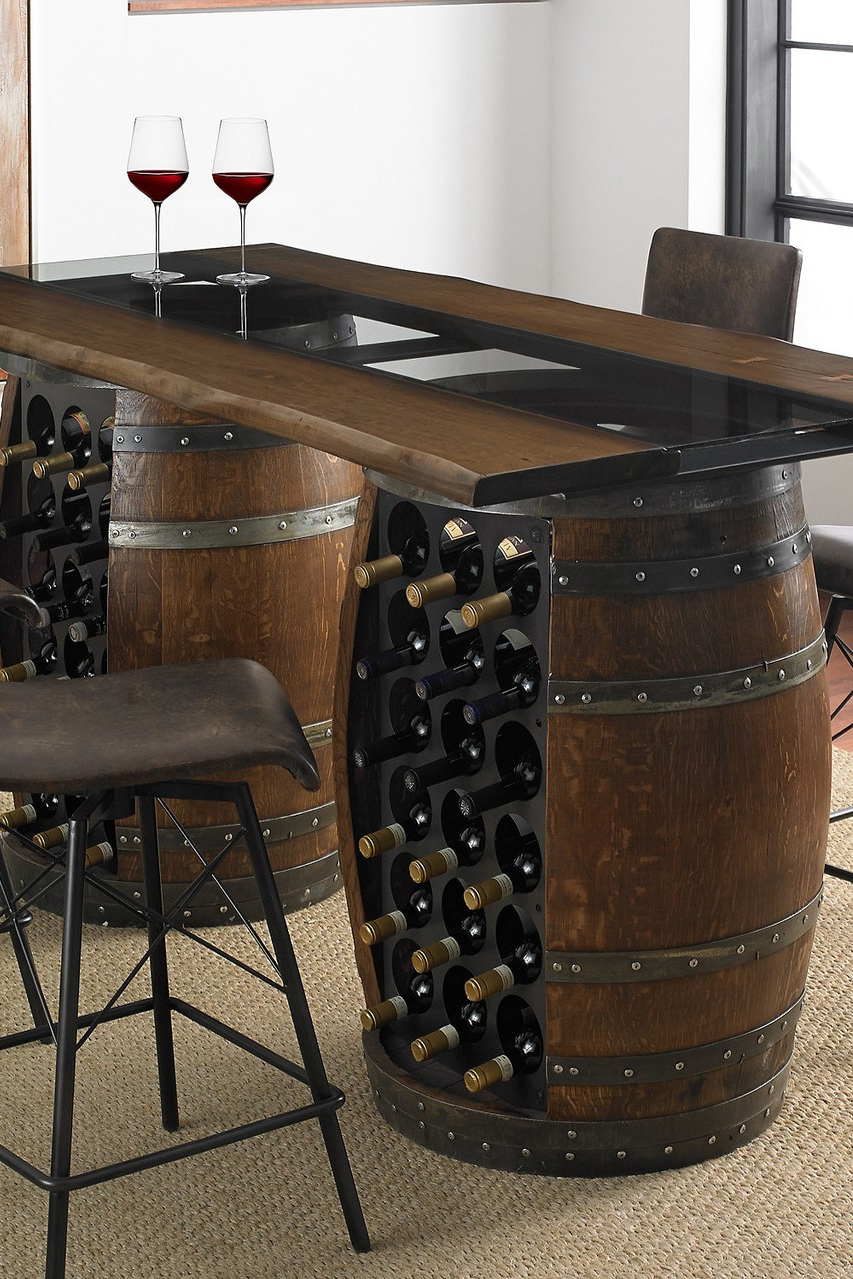 Loire Double Wine Barrel Gathering Table With Glass And Wood Top Wine Barrel Table Wine Barrel Bar Barrel Decor