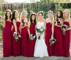 Pretty Wine Red Simple Bridesmaid Dresses 2017
