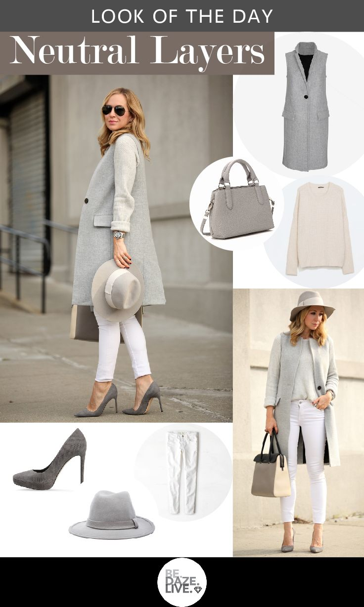 Outfit Ideas: Neutral Layers | Casual office wear, White skinnies ...