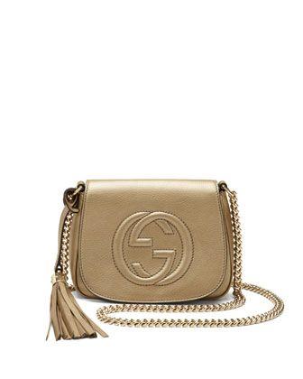 95df7753 Soho Metallic Leather Chain Crossbody Bag Champagne | Bags | Chain ...