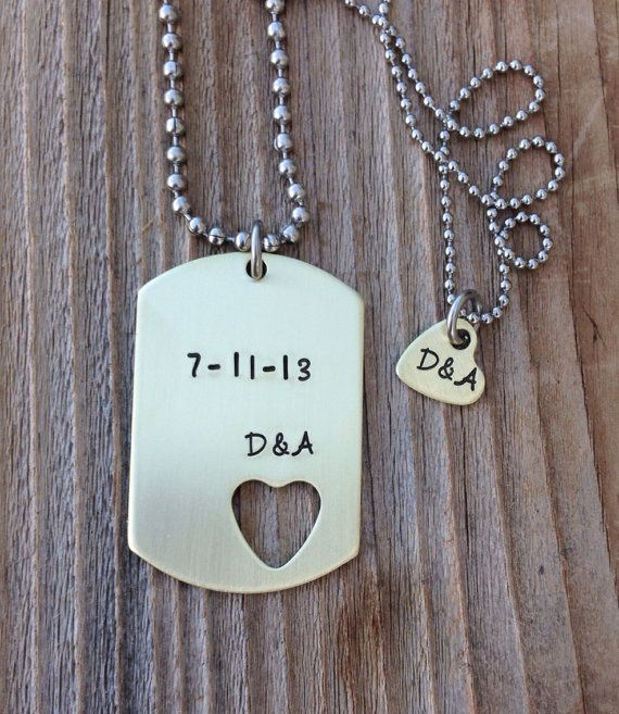 80aa6a9329 This custom dog tag set is a perfect couples set . Featuring a 1x1 1/2  brass tag and a matching cut out heart necklace . 3/8 inch .The metal used  is
