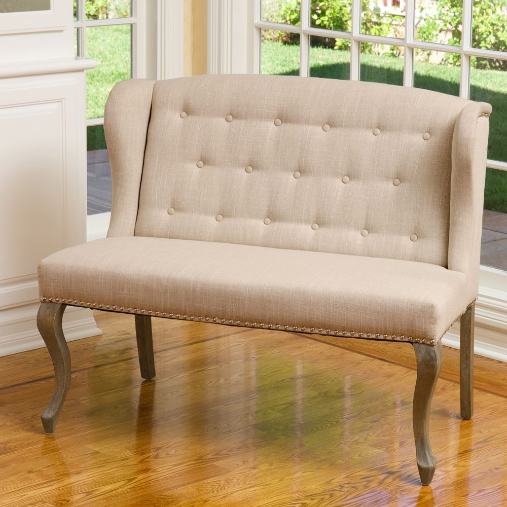 Adrianna Wingback Button Tufted Fabric Loveseat By Christopher Knight Home  | Overstock.com Shopping   The Best Deals On Sofas U0026 Loveseats