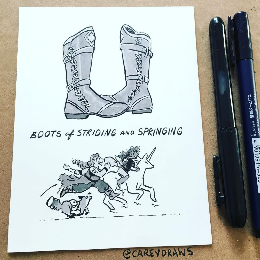Day 28 Of Inktober With Random Magic Items From The Dnd 5e Dm Guide I Want These Boots Please Dungeons And Dragons Instagram Posts Drawings 5e encumbrance isn't as harsh as it used to be, or the. dnd 5e dm guide