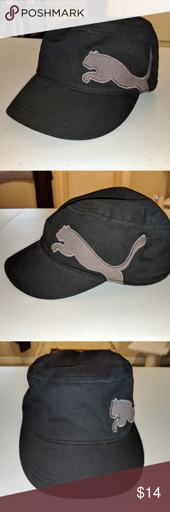 23d2571440f PUMA Leap Adjustable Military Cap - Like New - Black military style cap -  Puma Cat