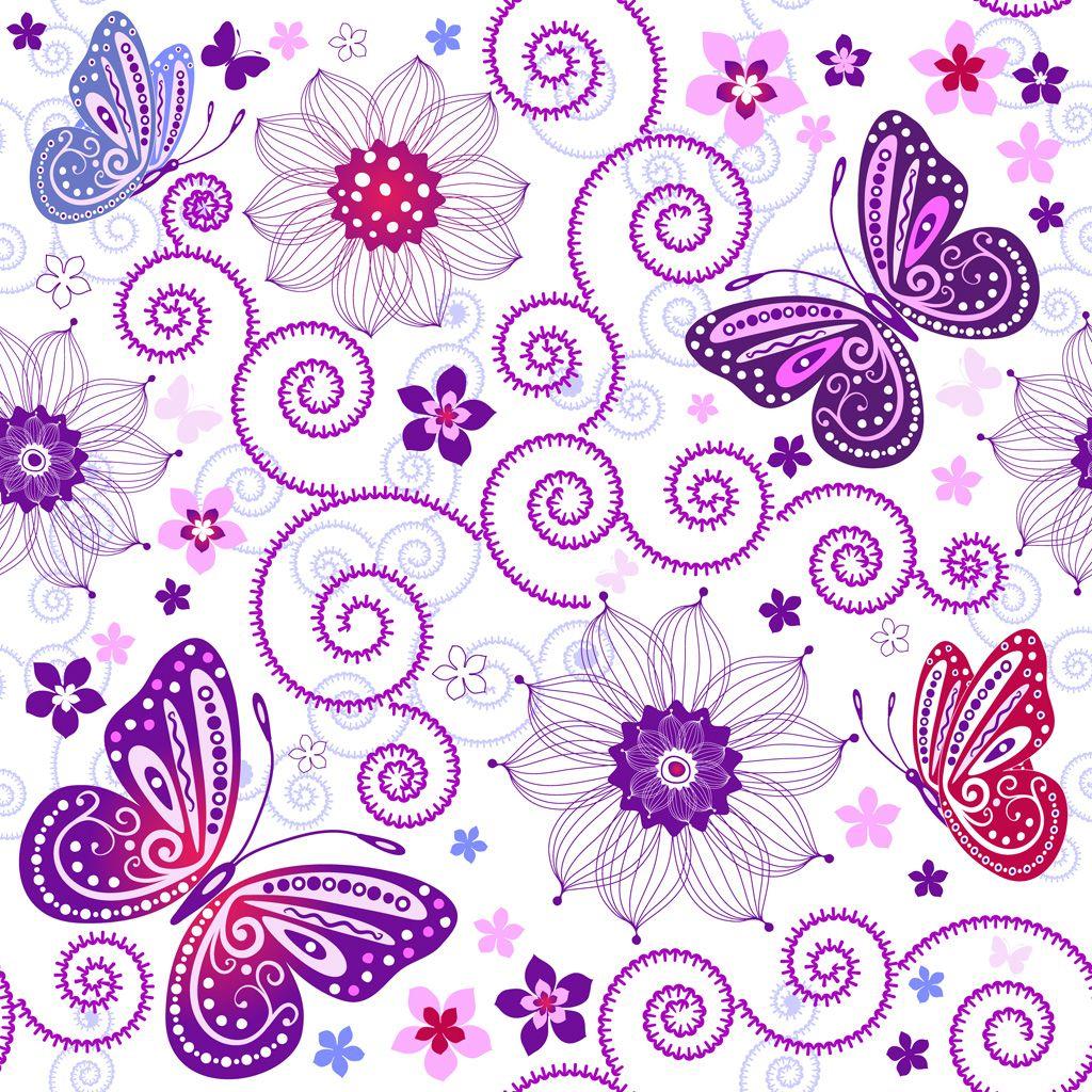 フリーイラスト素材] イラスト, 背景, 植物, 花, 蝶 / チョウ, 昆虫 / 虫