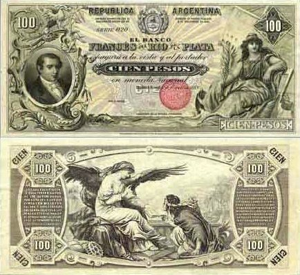 100 Pesos Argentina S Banknote Pick S1057 Date 1888 Bank Notes Old Coins Argentina