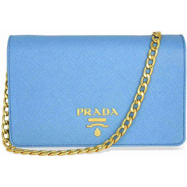 dc273b4d9e0995 Prada Lux Saffiano Leather Crossbody Wallet - Light Blue ($849) ❤ liked on  Polyvore featuring bags, wallets, credit card holder wallet, snap wallet,  blue ...