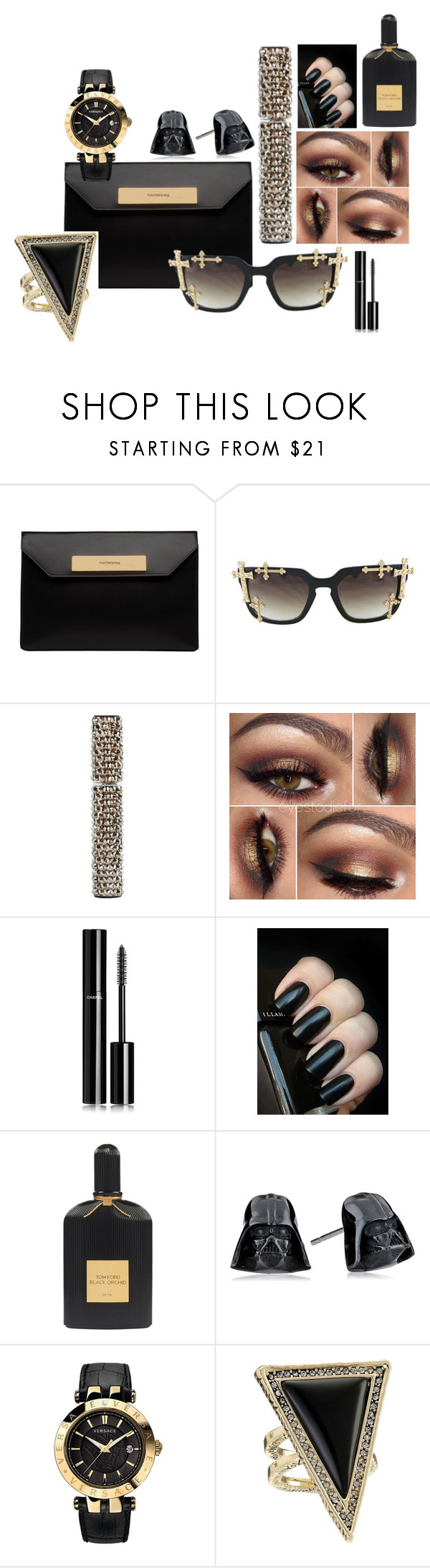"""""""The Dark Side"""" by crystalcult on Polyvore featuring beauty, Balenciaga, Chanel, Tom Ford, Versace and House of Harlow 1960"""