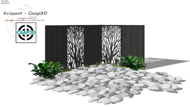Large Preview Of 3d Model Of Ensemble Jardin Brise Vue Arbre Casto Galet Trang Tri