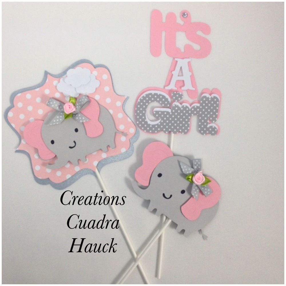 Details About Elephant Centerpieces/ Pink And Gray Centerpieces/ Elephant Theme/ It's A Girl