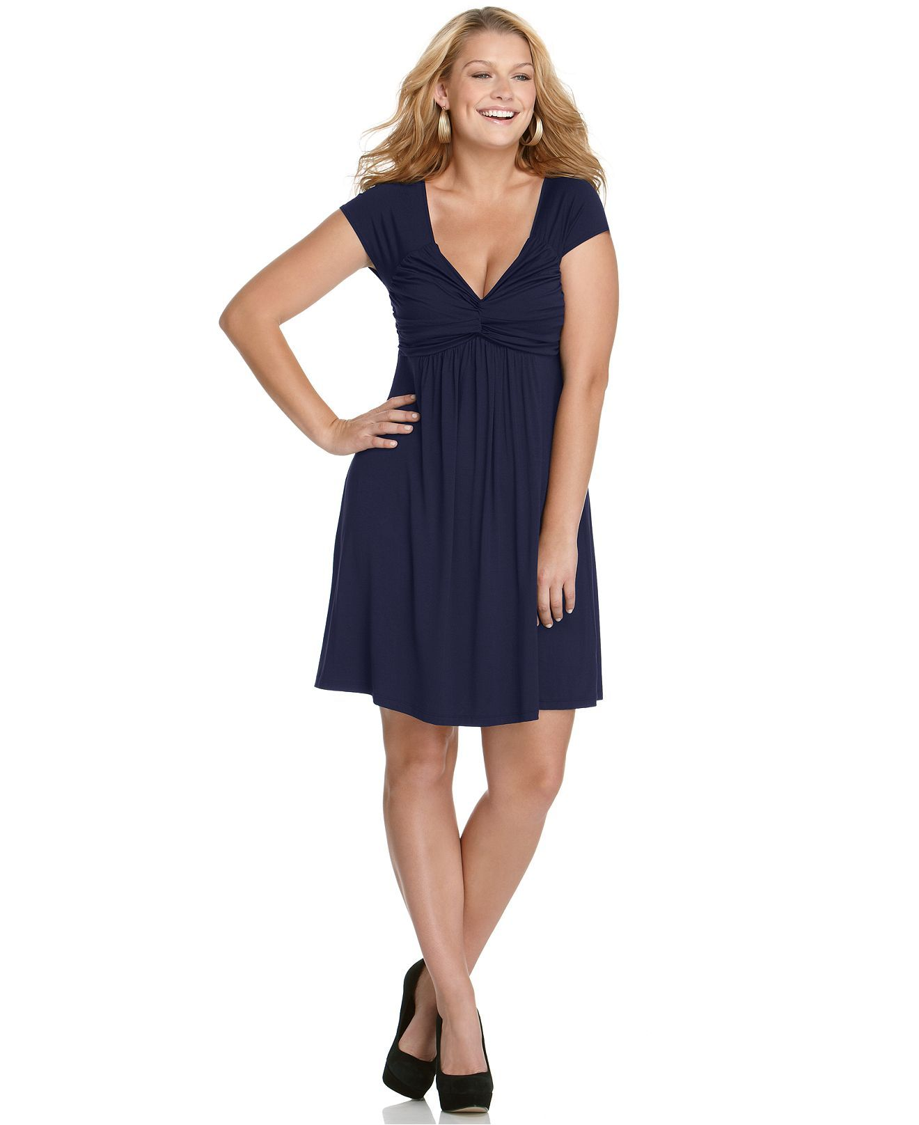 Soprano Plus Size Dress, Short Sleeve Ruched Gathered ...