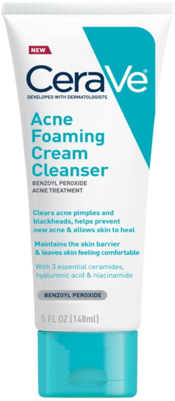 Cerave Acne Foaming Cream Cleanser Benzoyl Peroxide Acne
