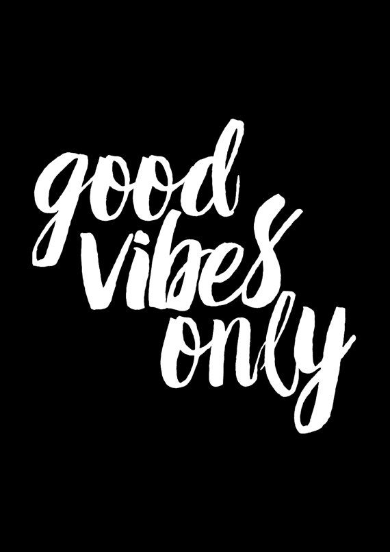 Good vibes only typography print motivational by for Black and white only