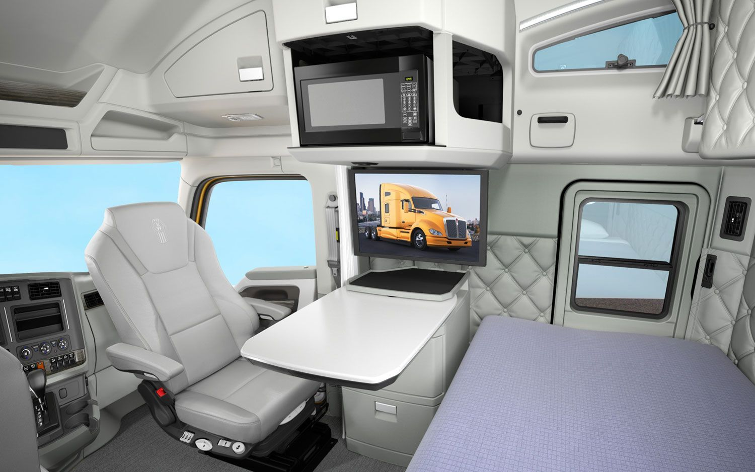 Custom Sleeper Interiors | Kenworth T680 Sleeper Cab Interior #trucking Pictures Gallery