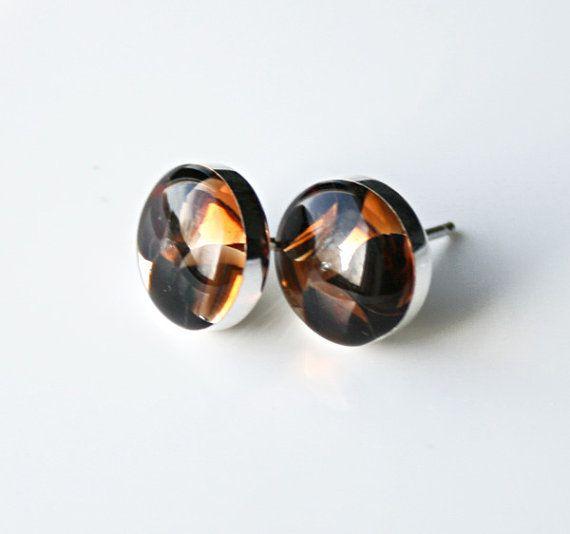 Sterling Silver Smokey Topaz Swarovski Crystal and Resin Stud Handmade Earrings